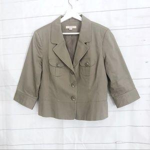 NWOT MERONA KHAKI BLAZER Large L 3/4 sleeves